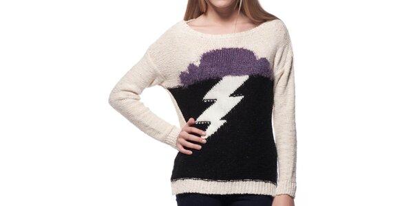 Dámský béžový svetr s motivem blesku ARS Collection