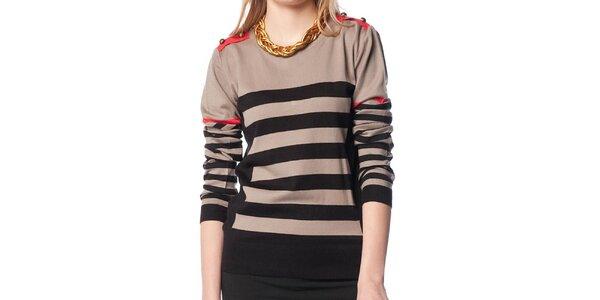 Dámský béžovo-černý svetr s proužky ARS Collection