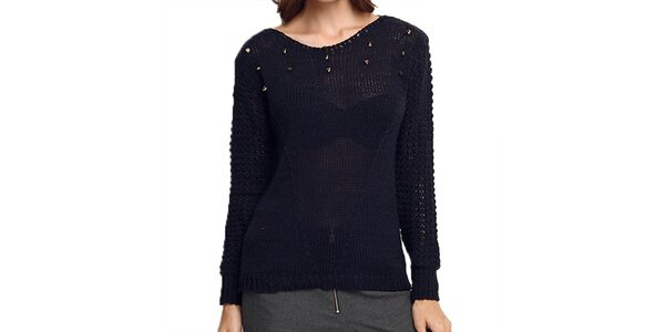 Dámský tmavě modrý svetr s transparentními zády ARS Collection
