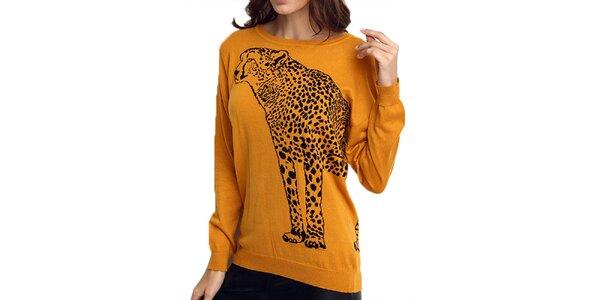Dámský oranžový svetr s gepardem ARS Collection