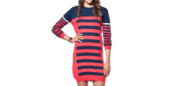 Dámský dlouhý červeno-modrý svetr ARS Collection