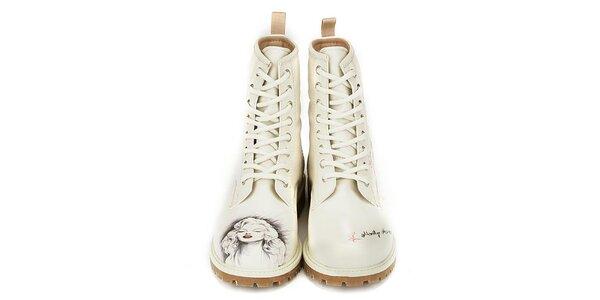 Dámské krémové kotníkové boty s Marilyn Monroe Dogo