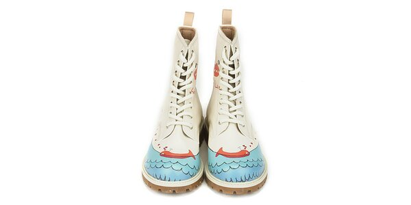 Dámské krémové šněrovací boty se zamilovanou velrybou Dogo