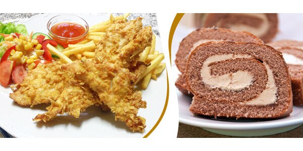 Lahodné kuřecí křupinky s bramborem + dezert pro dva