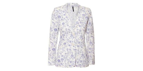 Bílé dámské sako Naf Naf s fialovým květinovým vzorem