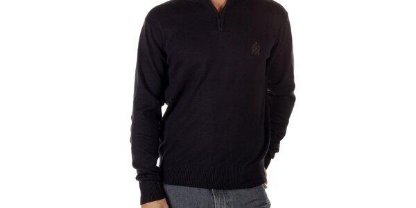 Pánský modrý svetr s nášivkami na loktech CLK