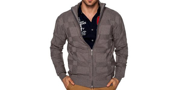 Pánský šedo-hnědý svetr na zip Giorgio di Mare