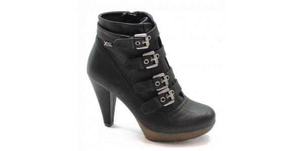 Černé kotníčkové boty s přezkami Xti