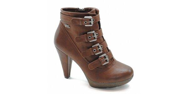 Hnědé kotníčkové boty s přezkami Xti