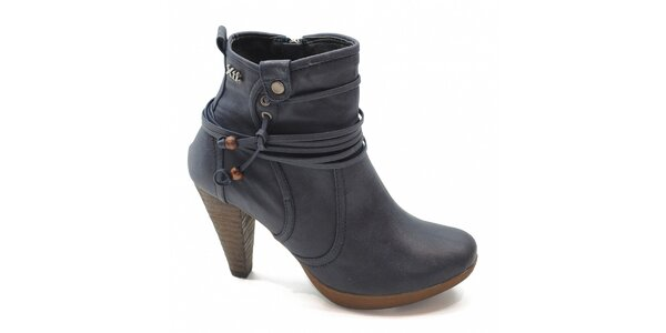 Modré kotníčkové boty s vázáním Xti