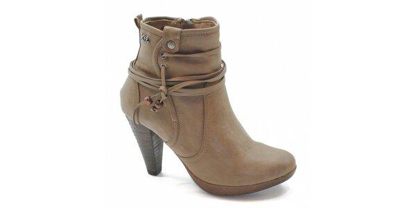 Béžové kotníčkové boty s vázáním Xti