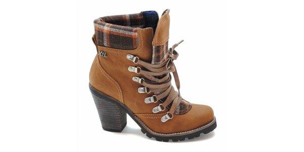 Velbloudí kotníčkové boty s károvaným lemem Xti