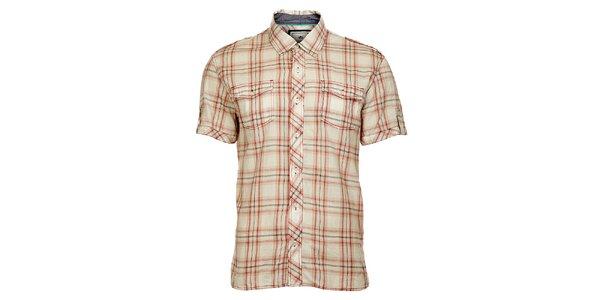 Pánská krémovo-červená košile Timeout s krátkým rukávem