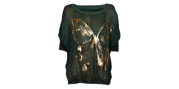 Tmavě zelené dámské triko Bleifrei