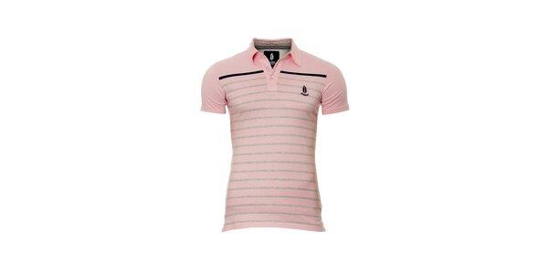 Pánské růžové polo tričko značky Bendorff s proužky
