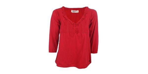 Dámské červené tričko s ozdobným lemem výstřihu Timeout df2294139f