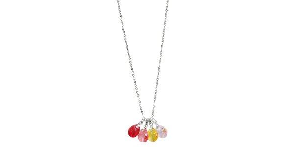 Dámský náhrdelník se čtyřmi barevnými Swarovski elementy Art de France