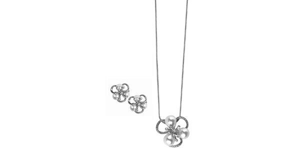 Dámské kytičkové šperky s kamínky Swarovski Elements - řetízek a náušnice Art…