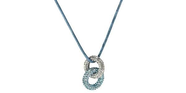 Dámský modrý prstýnkový náhrdelník s krystaly Art de France