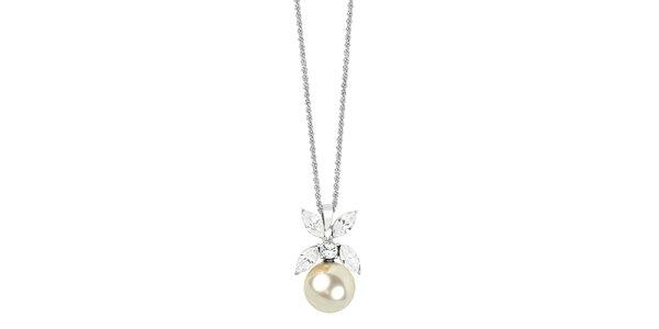 Dámský náhrdelník s perlou a krystaly Art de France