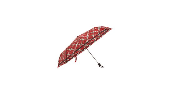 Červený automatický skládací deštník Ferré Milano s bílou mřížkou