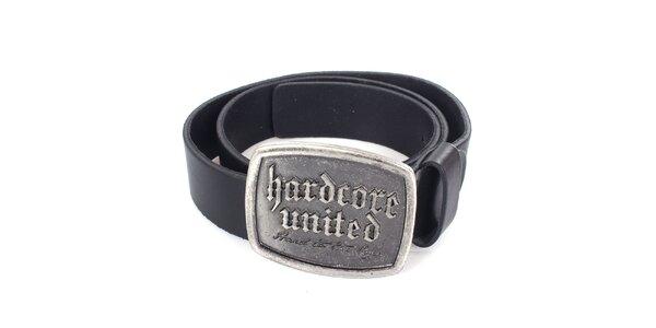 Pánský černý kožený pásek Hardcore United