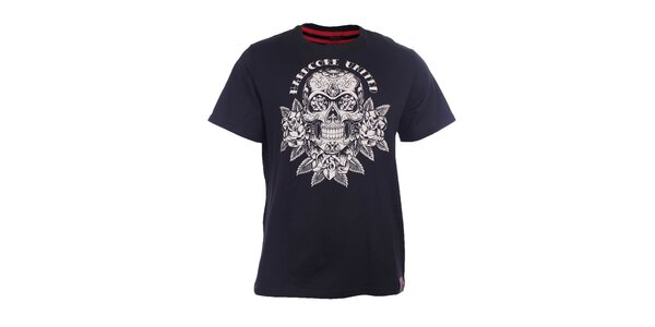 Pánské černé tričko s lebkou Hardcore United