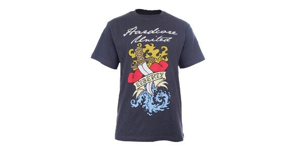 Pánské antracitové tričko s barevným potiskem Hardcore United