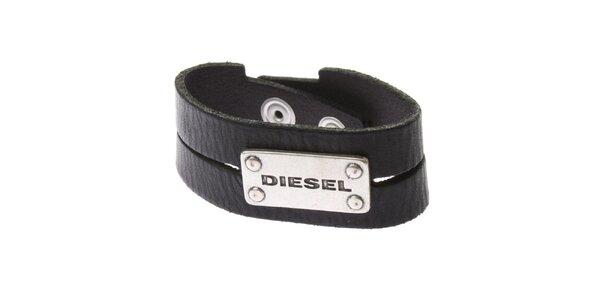 Pánský kožený náramek v černé barvě Diesel