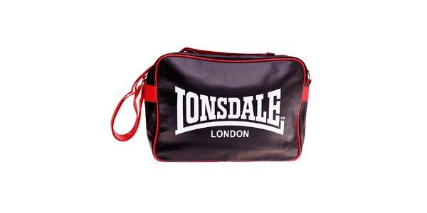 Černá taška přes rameno Lonsdale s červeným lemem