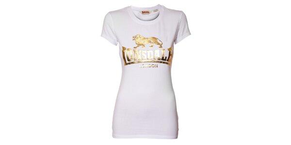 Dámské bílé tričko Lonsdale se zlatým potiskem