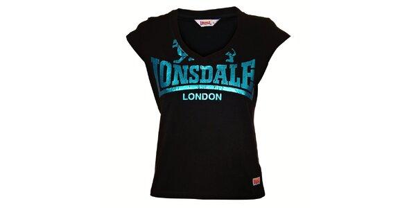 Dámský černý top Lonsdale se světle modrým metalízovým potiskem