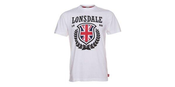 Pánské bílé tričko Lonsdale s černým potiskem a anglickou vlajkou