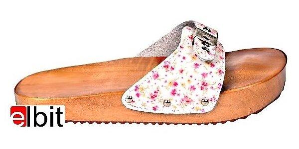 Dřeváky pro správné držení těla- malé květy, vel.40