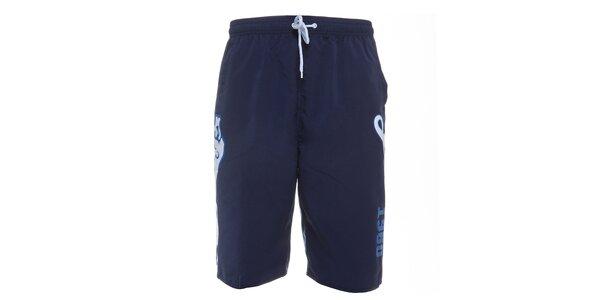 Pánské tmavě modré koupací šortky Lonsdale s bílým potiskem