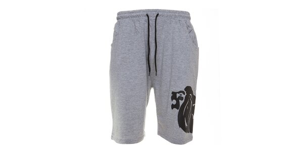 Pánské šedé melírované sportovní šortky Lonsdale