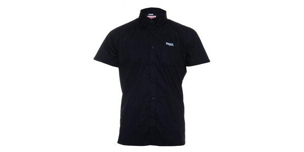 Pánská černá košile Lonsdale s krátkým rukávem a bílým potiskem