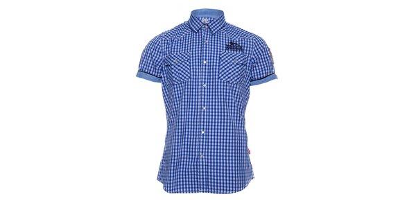Pánská modrobílá kostičkovaná košile Lonsdale s krátkým rukávem
