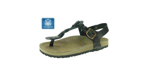 Dámské černé kožené sandály Beppi