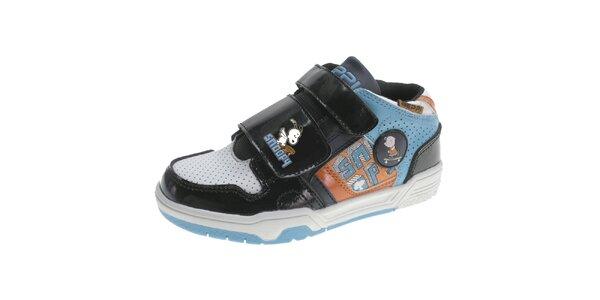 Dětské černo-modro-oranžové boty Beppi se Snoopym