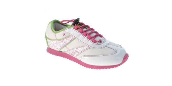 Dětské bílé tenisky s růžovou podrážkou Beppi