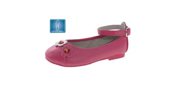Dívčí růžové kožené balerínky s kytičkami Beppi