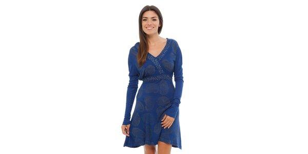 Dámské zářivě modré šaty Ada Gatti s ornamentálním potiskem
