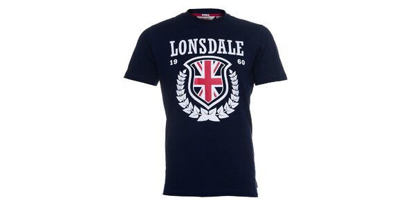Pánské tmavě modré tričko Lonsdale s bílým potiskem a anglickou vlajkou