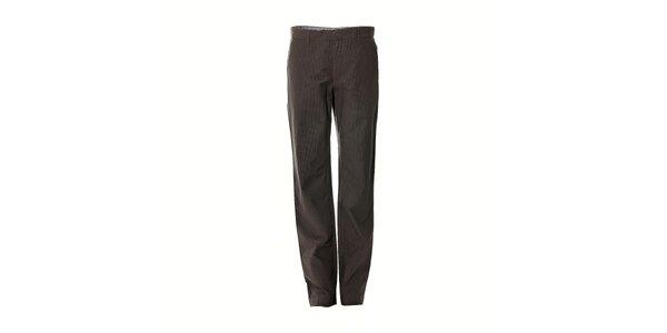 Pánské kalhoty značky Bendorff v šedé barvě s decentními proužky
