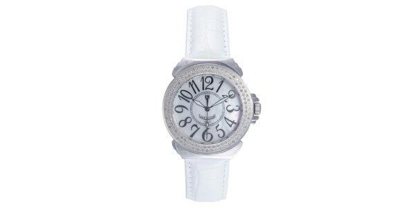 Dámské analogové hodinky s bílým páskem a diamanty Lancaster