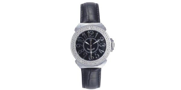 Dámské černé analogové hodinky s diamanty Lancaster