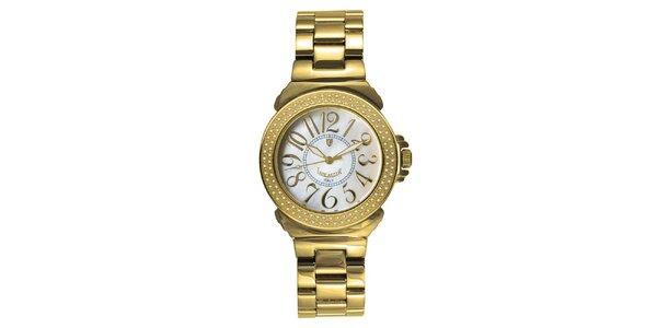 Dámské analogové hodinky s diamanty a světlým ciferníkem Lancaster