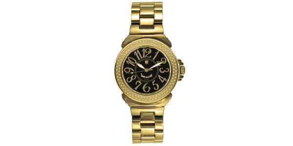 Dámské analogové hodinky s diamanty a tmavým ciferníkem Lancaster