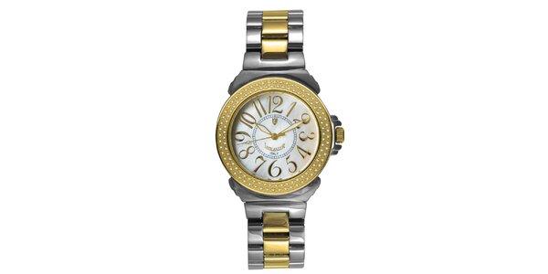 Dámské ocelové hodinky s diamanty a perleťovým ciferníkem Lancaster